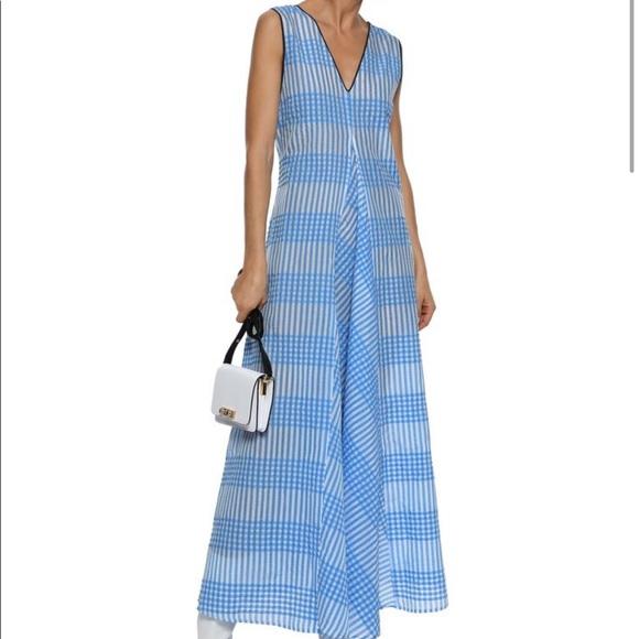 Ganni Dresses Charron Checked Cottonblend Seersucker Maxi Poshmark